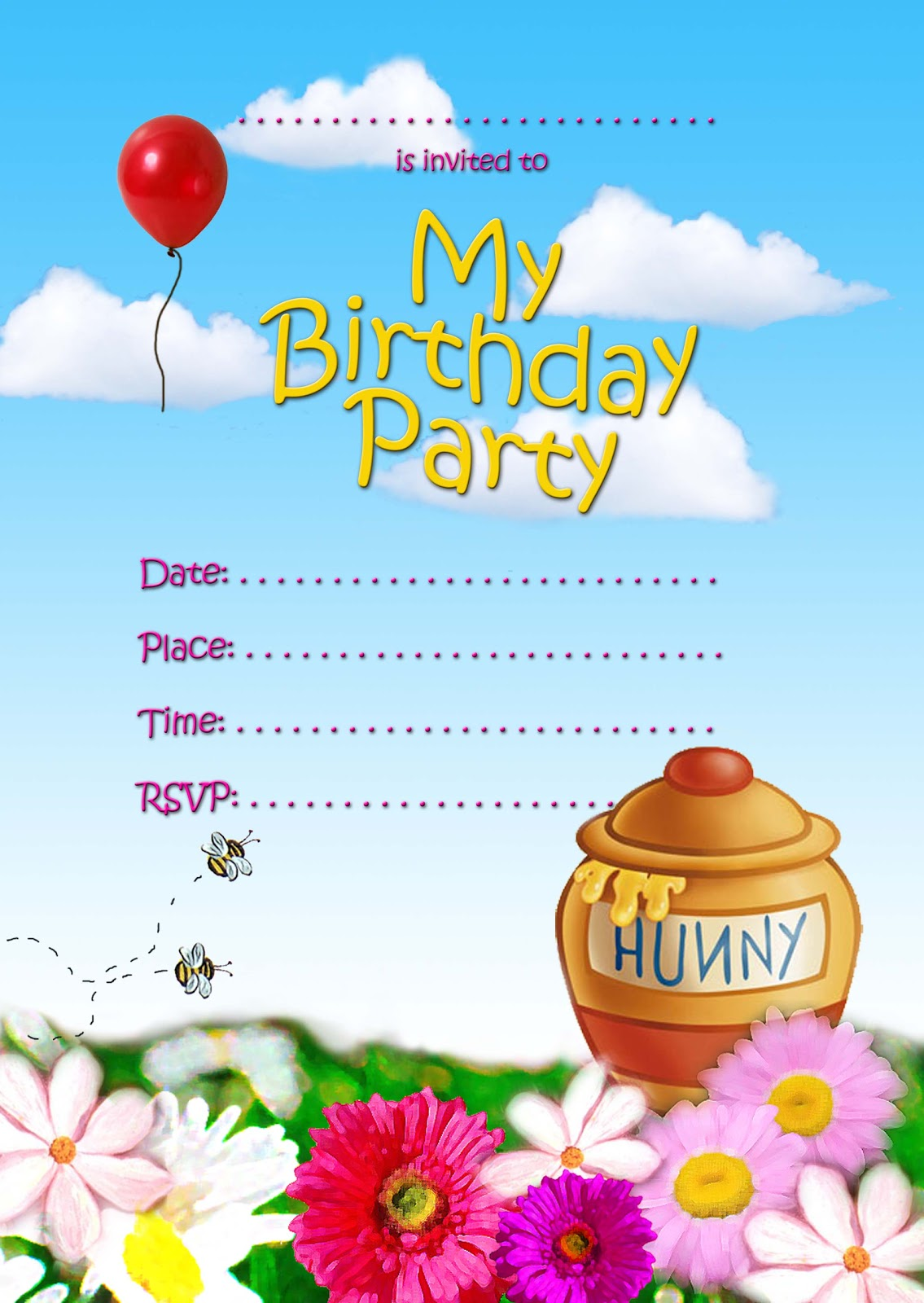 FREE Kids Party Invitations: Hunny Bee (Pooh-ish) Invitation