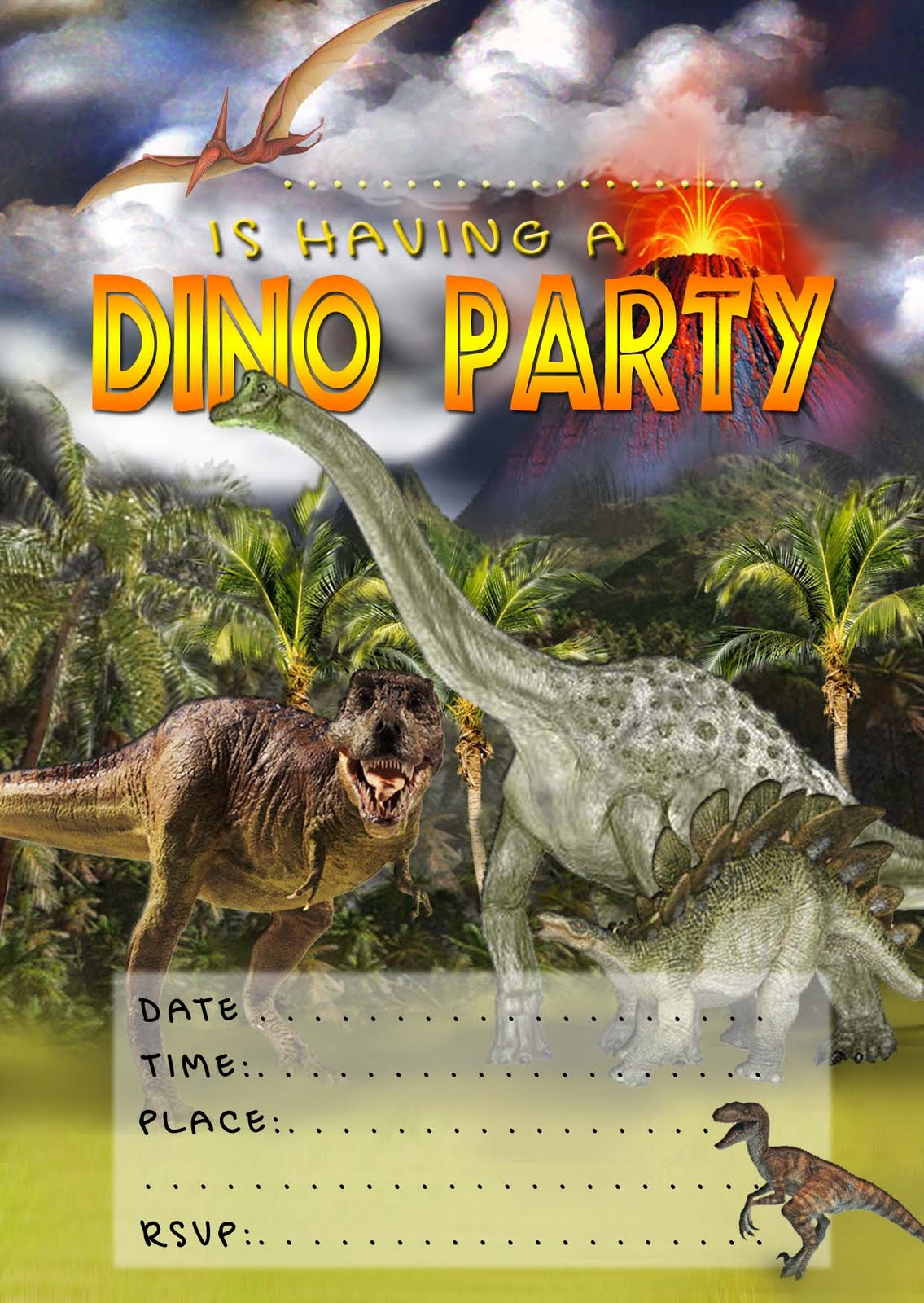 FREE Kids Party Invitations Dinosaur Invitation