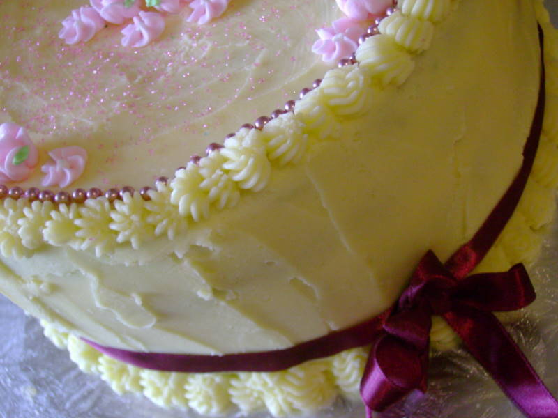 Fancy Nancy Party - fancy birthday cake with ribbons and sugar pearls