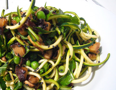 Raw Asian 'Noodle' Salad with Peas, Mushrooms & Arugula