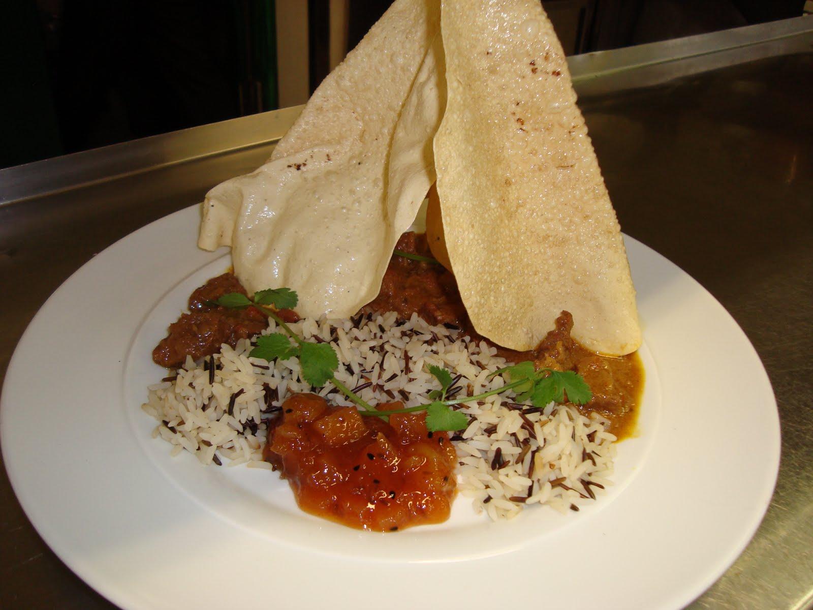 ... Beef with served with wild rice,papadams and mango kumquats chutney