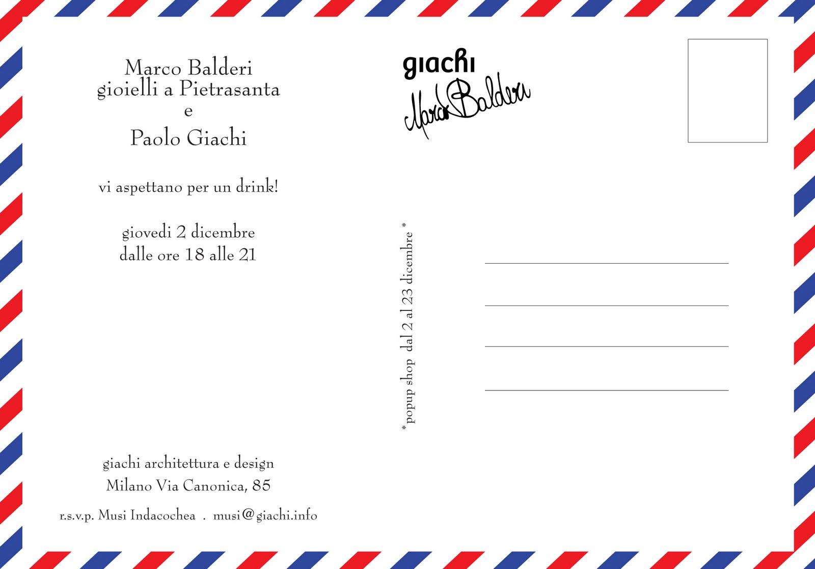 paolo giachi: Next Event - Marco Balderi - 2 December 2010, Via ...