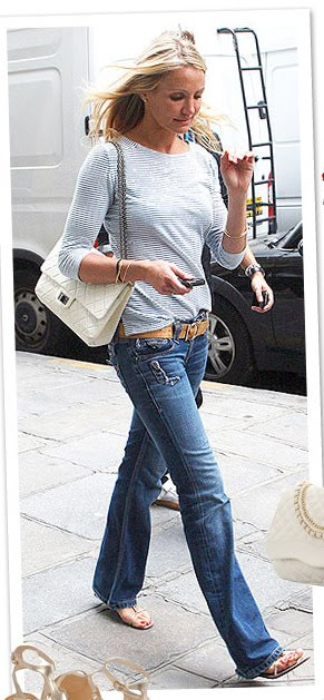 Style Notebook: Cameron Diaz in Striped Gray Top