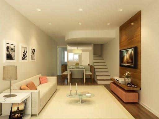 Sala Com Painel De Tv E Puff ~ painel e aparador acomodam TV e aparelhos, sob ele,