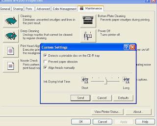 ck impress caput alignment setting of Canon inkjet printer Check Print Head Alignment Setting