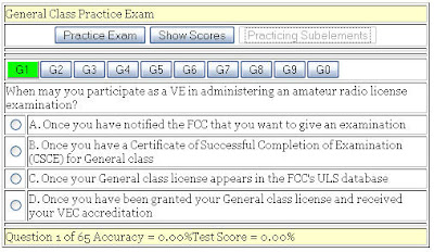 Amateur practice test exam