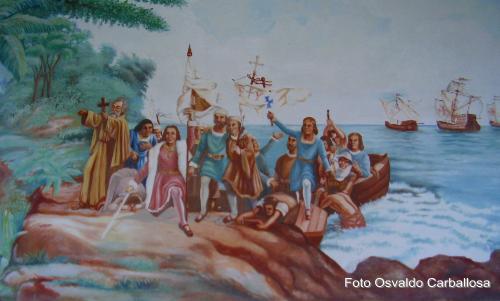Pintura del Desembarco de Cristobal Colon, en la Ofinica del Hno. Director.