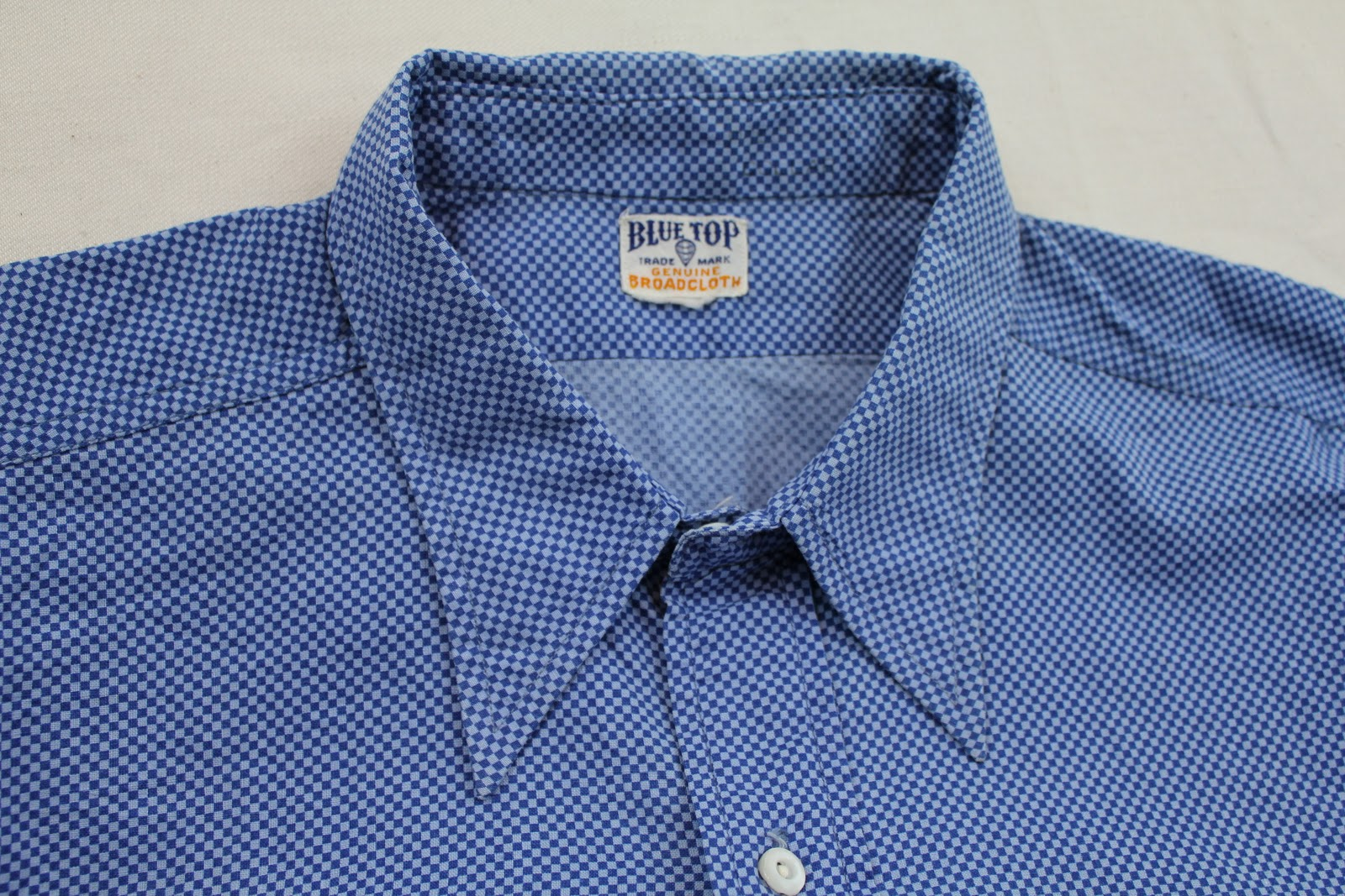 Vintage workwear 1940 39 s blue top broadcloth work shirt for Usa made work shirts
