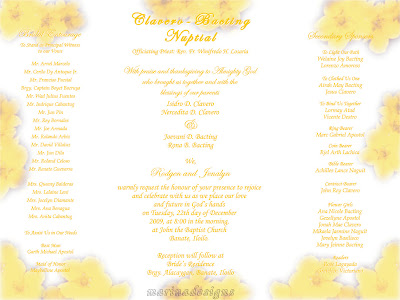 Sample Wedding Entourage List Invitation http://marinadesigns.blogspot.com/2010/04/wedding-invitation-designs-yellow.html