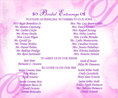 Sample Wedding Entourage List Invitation http://marinadesigns.blogspot.com/2009/04/sample-of-wedding-invitation-purple.html