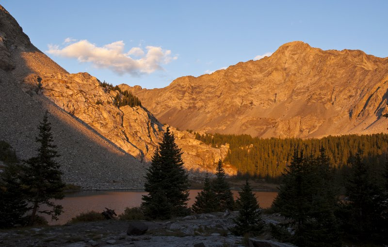 Sunset at Como Lake below Little Bear Peak