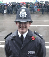 A policeman, not unlike the ones that drove me home