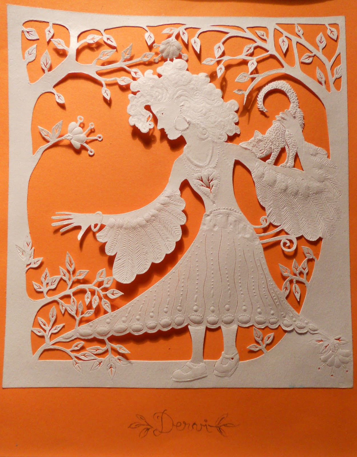 Embossed paper cut-out depicting a young woman that is ready to take flight and start her own life