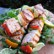 OPAH skewers with a little cilantro and lime