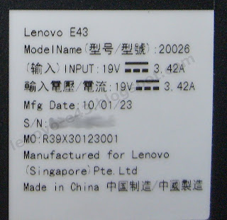Этикетка на ноутбуке Lenovo E43
