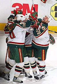 MN Wild players celebrating