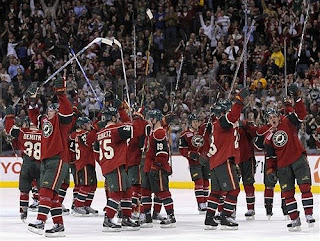 The Wild celebrate a victory at the Xcel Energy Center