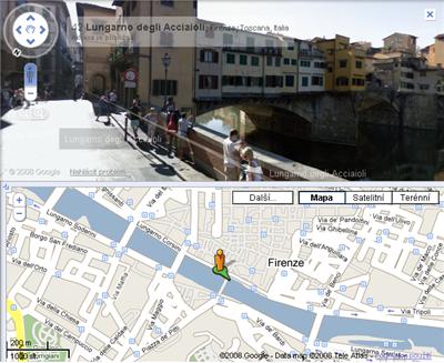 Virtuální procházka okolo mostu Ponte Vecchio ve Florencii
