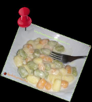 gnocchetti tricolore con fonduta di gorgonzola dolce
