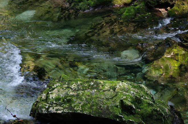 ko se voda preliva med kamenjem