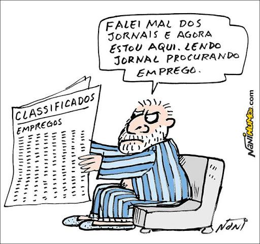 Lula: falei mal dos jornais e agora estou aqui, lendo jornal procurando emprego