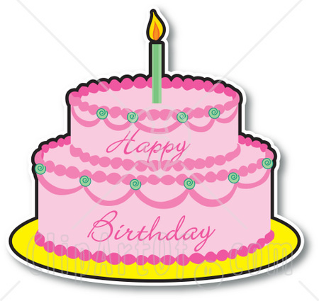 Clip art of an elegant birthday cake with pink roses and a big bow.