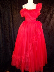 Vintage 80s Mike Benet  Red Tulle Prom Evening Dress S