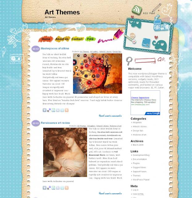 Blue Sky - art, family wordpress theme free download.