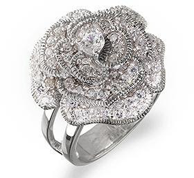 Flower Ring Cubic Zirconia Jewelry