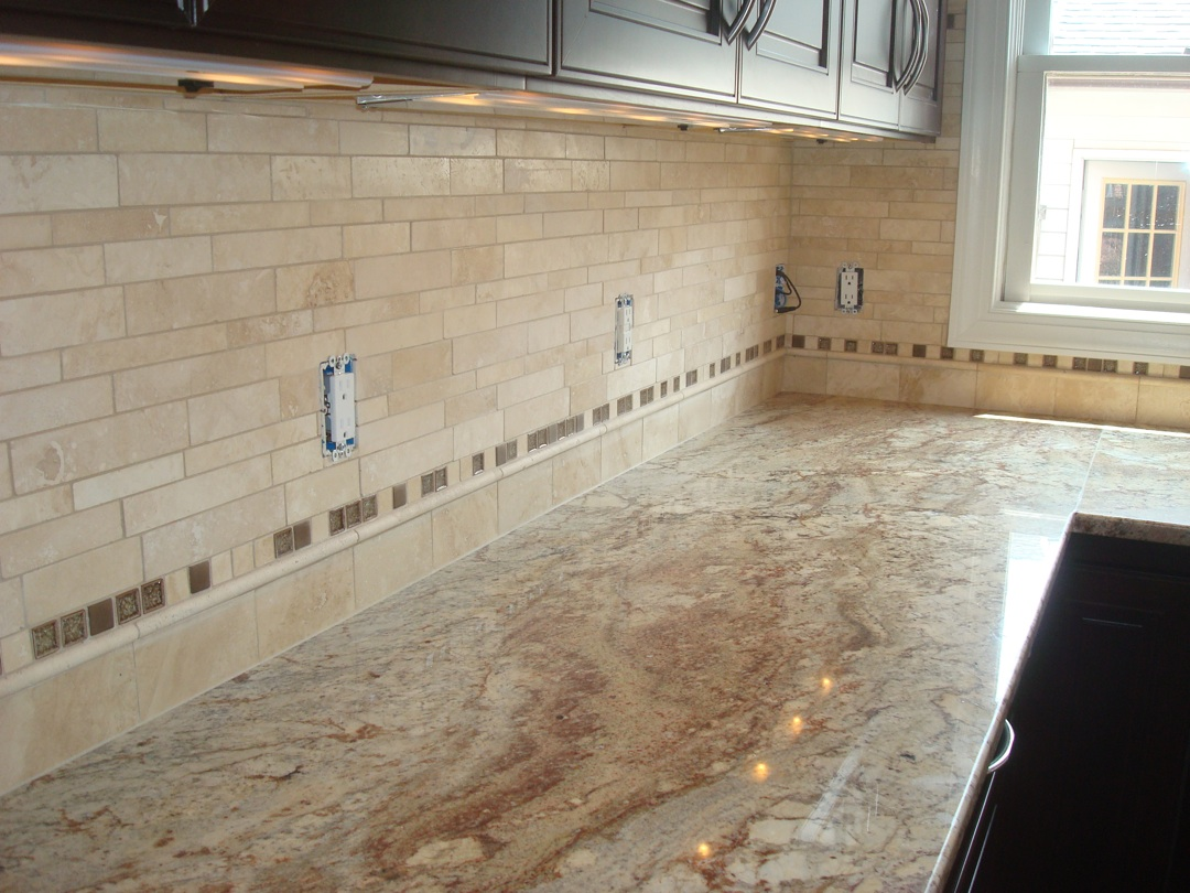 Kitchen Backsplash Pictures Travertine straight edge tile: travertine kitchen back splash