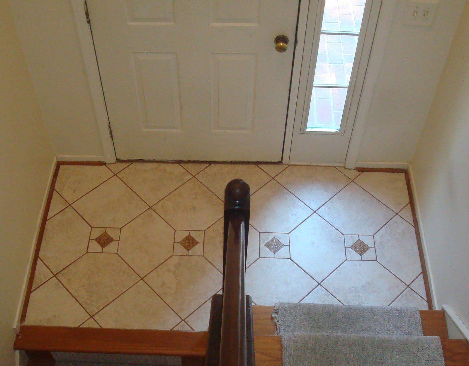 Straight edge tile porcelain tile foyer for Tile in foyer ideas