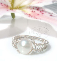 Silver Weave Pearl Ring