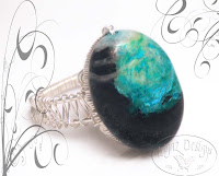 Turquoise Silver Weave Ring