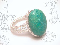 Light Turquoise Silver Weave Ring