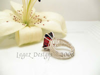 Garnet Silver Weave Ring - Back