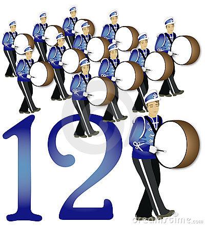 12 drummers drumming.