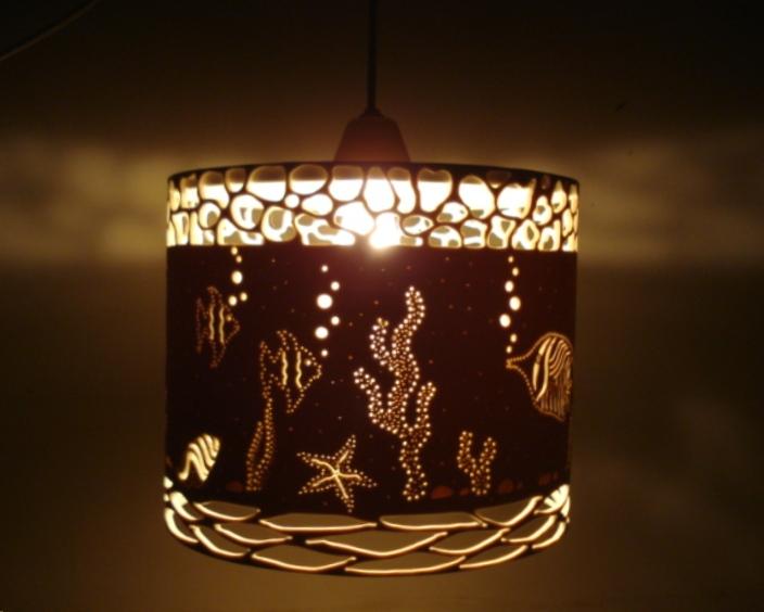 Luminárias pvc e outras idéias Luminária de teto Fundo do mar