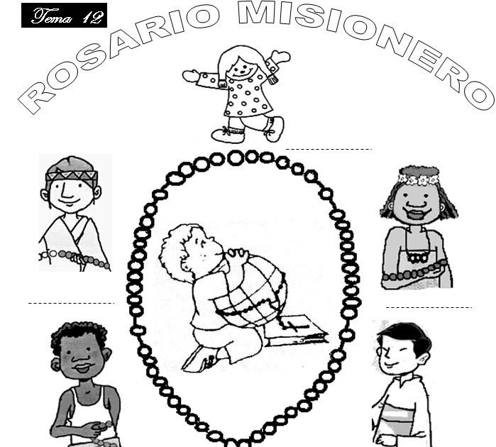 Rosario Misionero: Láminas para colorear mientras aprenden