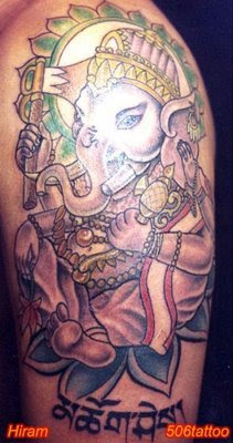 ganesha tattoo colourful artwork