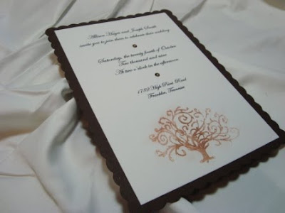 Detail of Copper Metallic Accent on Invitation with Hot Fix Crystal