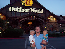 Daddy and Boys at Bass Pro Shop(kinda like cabellas)