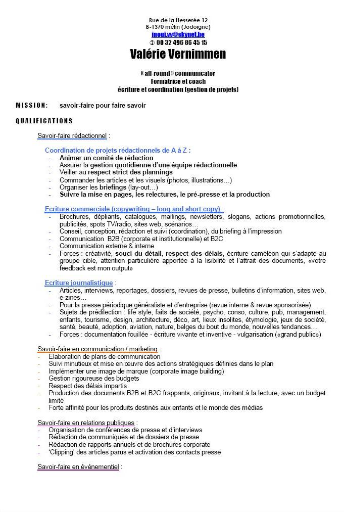 exemple cv mission interim