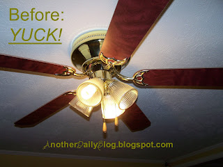 we had this ugly 90s colored brass ceiling fan we are also parents of two and on a very limited budget meaning we cant even afford a nice 60 new ceiling fans ugly