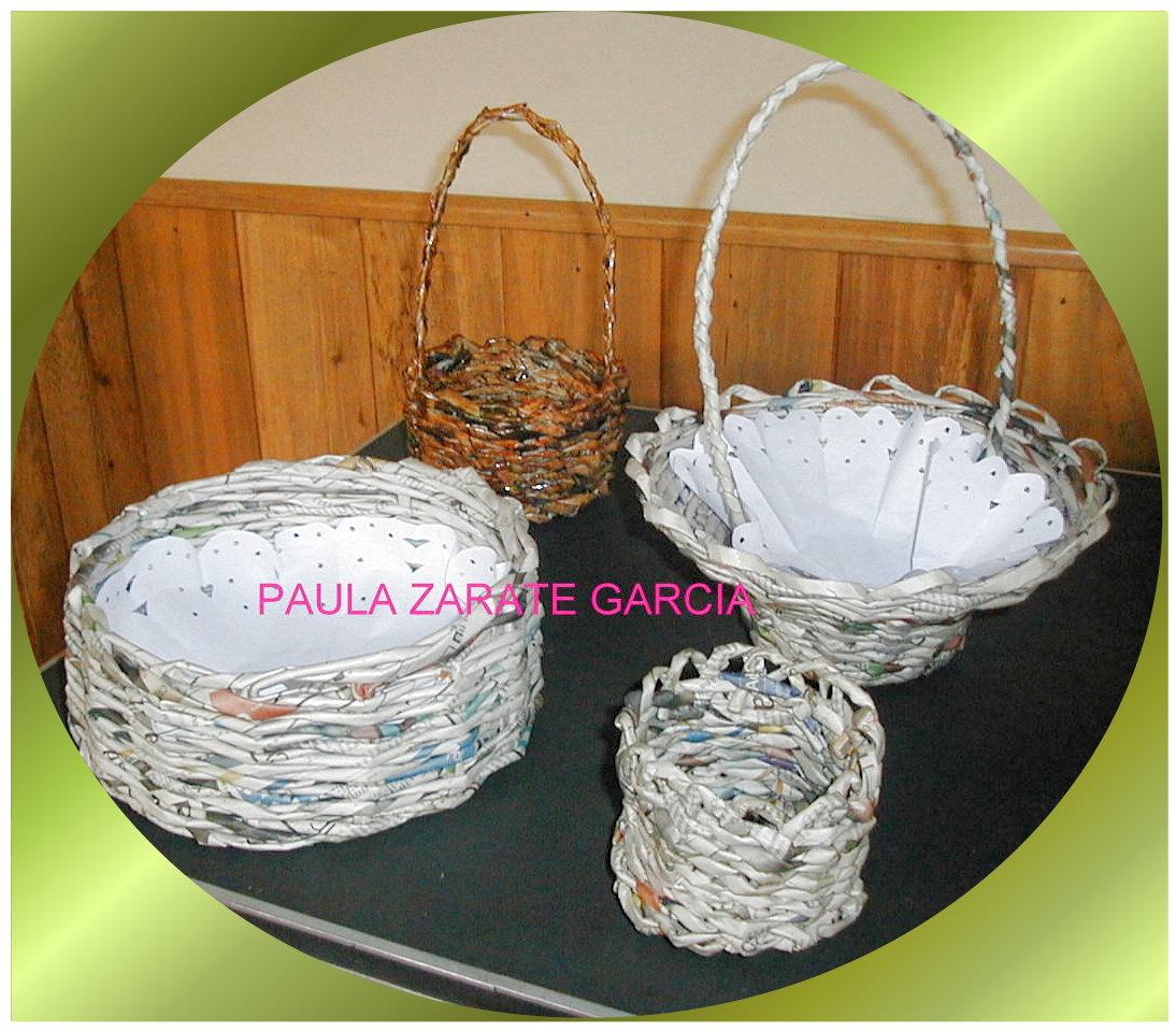 Reciclando con pauli canastas de papel periodico - Hacer cestas con papel de periodico ...