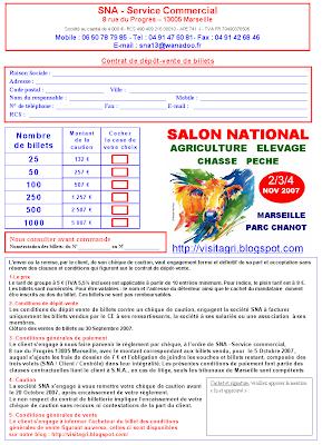 Contrat de d p t vente de billets d 39 entr e pour le salon - Salon agriculture tarif ...