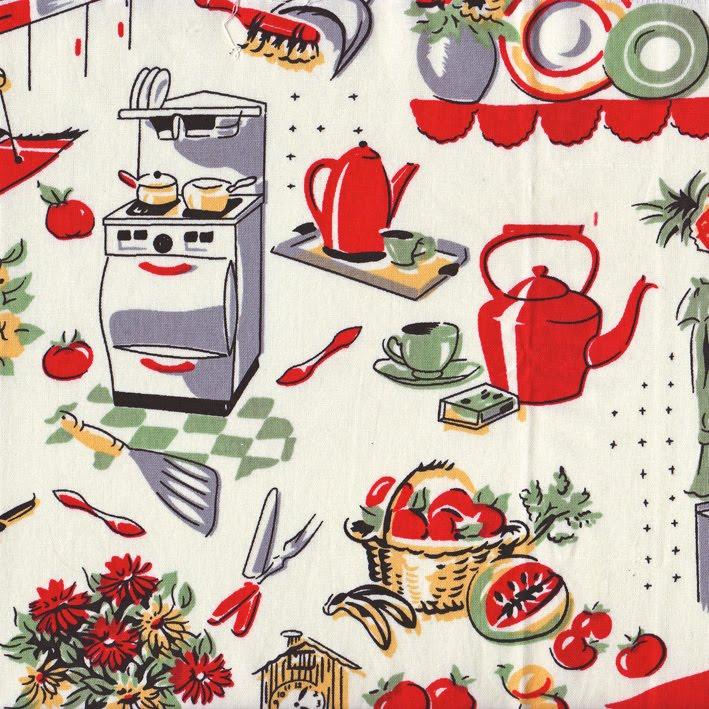 Retro Kitchen Curtains 1950s: The Bowerbird: 1950's Fabric