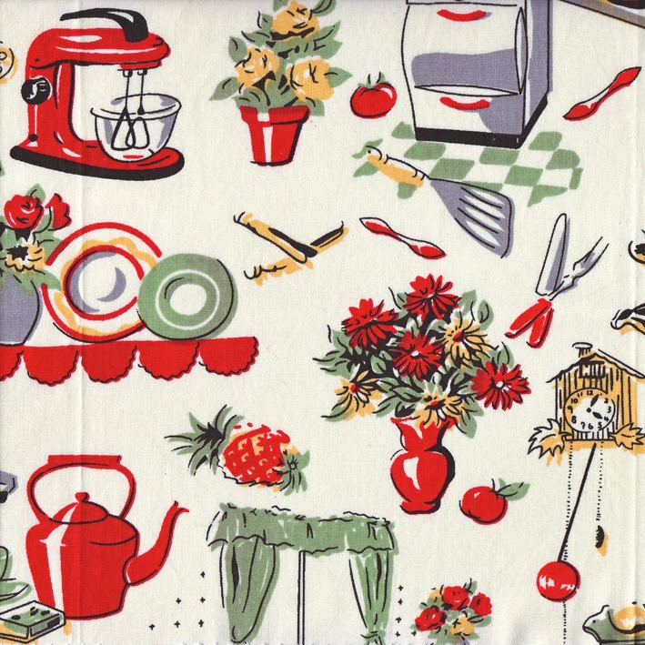 Vintage Kitchen Fabric #1 - C. 1950