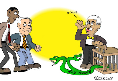 mahmoud abbas abu mazen releasing letting out two headed snake from cage hamas prisoners barack obama binyamin netanyahu
