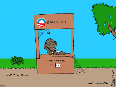 peanuts style drawing barack obama sitting behind obamacare booth chin in hand worried cobwebs the doctor is in