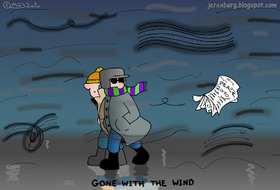 two israeli men bundled up walking through wind rainy wet blowing newspaper peace 2010 gone with the wind peace process